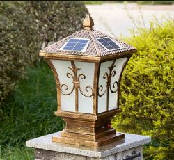 New Style Copper Material 4W solar pillar light / lamp